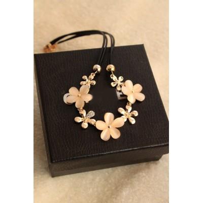 N-3950 Korea style double leather chain rhinestone cat's eye five petal flowers choker necklace