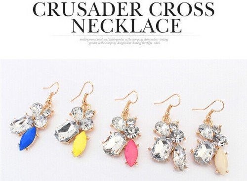 E-3177 European Style Gold Plated Alloy Candy Fluorescent  color  Gem Stone Crysatl Drop  Dangle Earrings