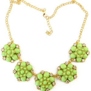 N-3961  Fashion 4 colors gold filled link chain resin gem stone rhinestone flower chunky necklaces pendants