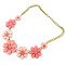 N-3848 Vintage style exaggerated bronze chain rose sea blue beads crystal flower choker necklace