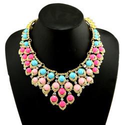 N-3960  Fashion 2 Colors Gold Plated Alloy Candy Resin Gem Rhinestone Drop Choker Bib Necklace