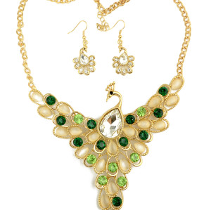 N-3959  Fashion 2 Colors Gold Plated Alloy Drop Cat's Eye Crystal Rhinestone Peacock Earring Necklace Set