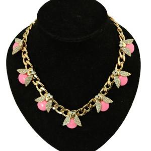 N-3952 Fashion gold filled link chain pink Beetle ladybug resin gem stone rhinestone  choker  necklace animal cute  jewelry