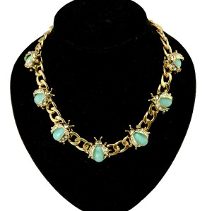 N-3953 Fashion gold filled link chain green  Beetle ladybug resin gem stone rhinestone  choker  necklace animal cute  jewelry