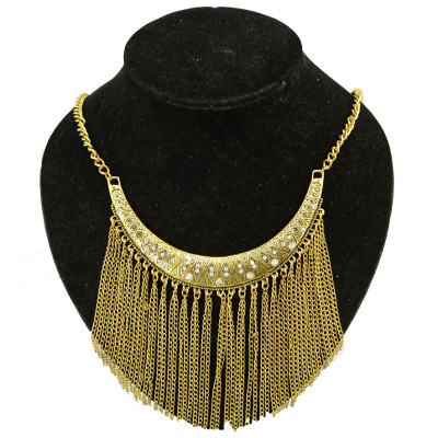 N-3957  Vintage Style Golden Silver Zamac Jewelry Carving Moon Shape Finge Necklace