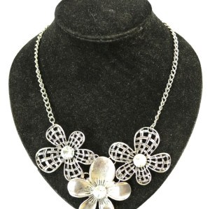 N-3956  Eur Style Vintage Golden Silver Big Hollow Out Crystal Leaf Flower Antique Necklace Earring Sets