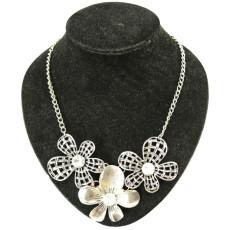 N-3956  Eur Style Vintage Golden Silver Big Hollow Out Crystal Leaf Flower Antique Necklace Earring Sets