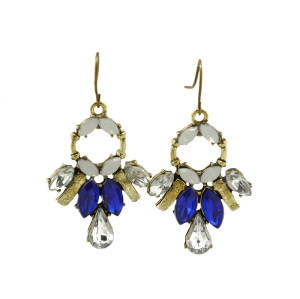 E-3176 European Style 3 colors Bronze Vintage  Alloy Gem Stone Crysatl Drop  Dangle Earrings for women 2014 jewellery
