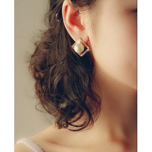 E-3163 Korea style gold palted alloy rhinestone multi-level square pearl cute stud earrings
