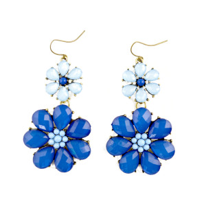 E-3173  New arrival bronze alloy blue/orange gem resin big flower vintage earrings for women summer accessories