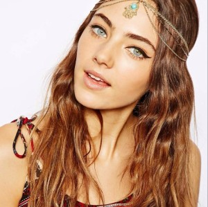 F-0167 European style gold filled turquoise forehead hair hoop hair band bohemian hair jewelry