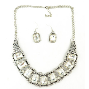 N-3954  European Style Silver Alloy Big Clear Square Crystal Choker Necklace Earring Set