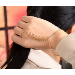 B-0376 Europe Style Gold Plated Chains Ring Leaves Bracelet