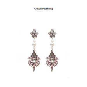 E-3161 Korea Style Blackmuse Brand Bronze Crystal Pearl Drop Large Earrings As Wedding Accessories & Party Gift