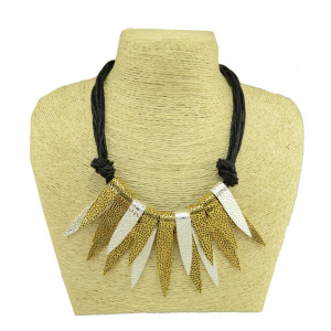 N-3973 European Style Multilayer Rope Chain Mix Color Metal Leaves Shape Tassels Choker Necklace All-Match