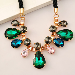 N-3963 European Style Rope Chain Colorful Crystal Drop Choker Necklace