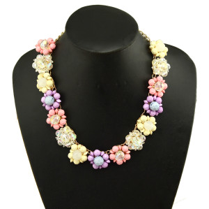 N-3965 Korea Style Gold Plated Alloy Link Chain Colorful Resin Gem Flowers Choker Necklace
