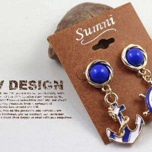 E-3178 European Gold Plated Vintage Blue Nautical Anchor Round Rudder Dangle Earrings Brinco 2014