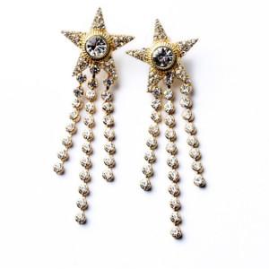 E-3191 Korea Style Silver Gold Plated Full Rhinestone Zircon Star Fringe Dangle Earrings