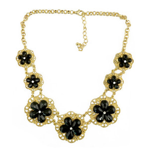 N-3977  Korea Style Gold Plated Alloy Hollow Out Rhinestone Acrylic Drop Gem Flower Statement Necklace