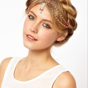 F-0170  European Style Gold Plated Chain Red White Orange Beads Rhinestone Carving Drop Head Band Hair accessories