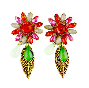 E-3184 Vinatge Style Antique Bronze Alloy Colorful Crystal Rhinestone Leaf  Shourouk Dangle Long Earrings Brinco
