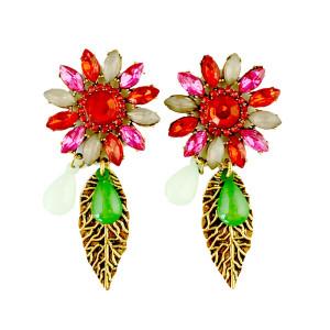 E-3184 Vinatge Style Antique Bronze Alloy Colorful Crystal Rhinestone Leaf  Shourouk Dangle Long Earrings Brinco