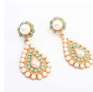 E-3187 New Arrivals  Gold  Alloy Blue Beads White Big Pearl Water Drop Dangle Long Earrings Brinco