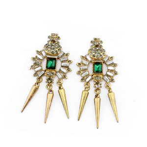 E-3195 New Arrivals Vintage  Gold  Plated Round Green Crystal  Rivets Tassel Dangle Long Earrings Brinco