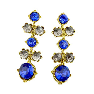 E-3196 Korea Style Vintage Gold Plated Royalblue Crystal Cute dangle Earrings