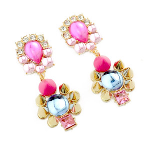 E-3197 New Arrivals  Gold  Plated Colorful Neon Pink Blue  Crystal  Rivets Dangle Long Earrings Brinco