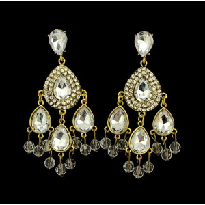 E-3198 European Style Bronze Alloy Rhinestone Luxury Crystal Drops Tassels Retro Statement Earrings