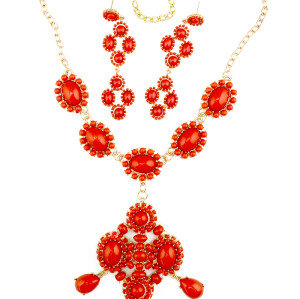 S-0098 European Style Exaggerated Red Beads Gem Stone Long Pendant Statement Necklace Earring Wedding Jewelry Set