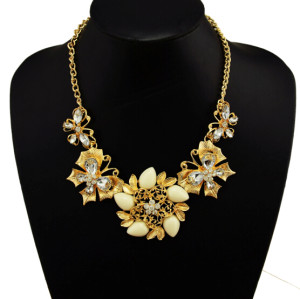 N-3986  2014 gold plated link chain white/black/colorful crystal resin flower choker necklace
