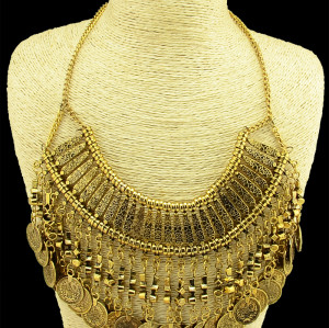 N-3984 2014 Bohemia Vintage Style Golden Silver Zamac Jewelry Handcraft Carving Metal Coin Fringe Statement Necklace