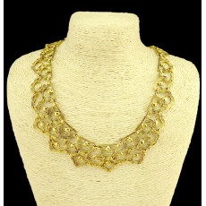 N-3990 Fashion retro golden silver plated paralleling carving hollowing flower choker chunky chain necklace