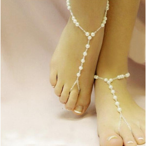 B-0378  Europe Style Big Small Pearl Stretch Chain Foot Anklet