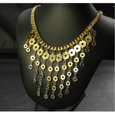 N-3997 Famous brand name gold flat chain necklace geometry, gradient hexagon shiny screw long pendant fringe necklace