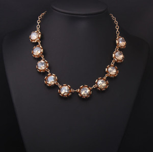N-4000  European golden link chain red/blue/ Champagne round rhinestone flower crystal choker  necklace for women accessories