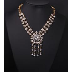 N-3942  European vintage brand bronze flower chain blue/clear crystal big water drop tassel chunky shourouk necklace