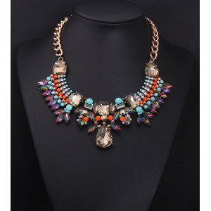 N-5004 European Style Gold Bronze Alloy Colorful Resin Gem Crystal Rhinestone Leaves Drop Choker Necklace