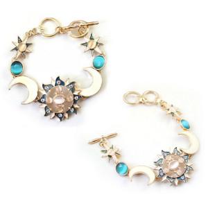 B-0385 Europe Style Gold Plated Alloy Enamel Rhinestone Resin Gem Sun Moon God Bracelet