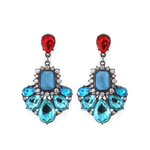 E-3206 European style Gun Black Alloy Fan Shape Rhinestone Crystal Drop Dangle Earring