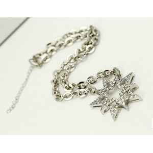 N-5007   European Style Silver Plated Alloy Star  Lucky Sun Flower Rhinestone Crystal Pendant Necklace