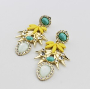 E-3207 European style Gold Plated Alloy Opal Rhinestone Resin Gem Drop Rivet Shourouk Dangle Earring