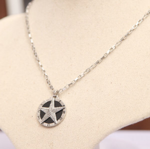 N-5009  Korea style silver plated exaggerated papillate full rhinestone stars round pendant clavicle necklace