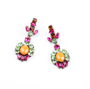 E-3210 European style Bronze Alloy Colorful Crystal Orange Resin Gem Stud Dangle Earring