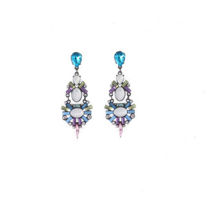 E-3213 Fashion European Style Gun Black Alloy Crystal Rhinestone Flower Shourouk Earring