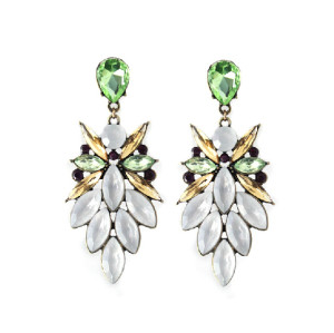 E-3214  E-3214Fashion European Style Bronze Alloy Crystal Rhinestone Flower Leaves Shourouk Earring