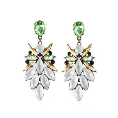 E-3214  E-3214Fashion European Style Bronze Alloy Crystal Rhinestone Flower Leaves Shourouk Earring